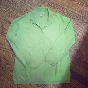 100% Cashmere lime green sweater size L